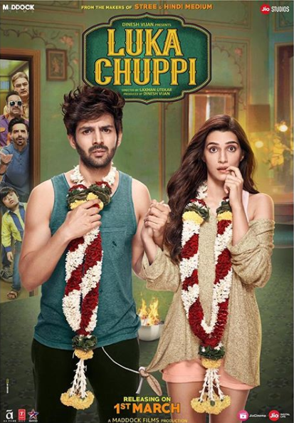 full cast and crew of Bollywood movie Luka Chuppi 2019 wiki, Kartik Aaryan, Kriti Sanon The Great story, release date, Luka Chuppi wikipedia Actress name poster, trailer, Video, News, Photos, Wallpaper, Wikipedia