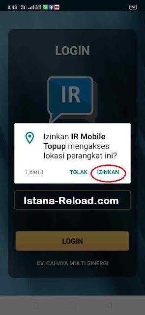 Izinkan IR Mobile Topup mengakses lokasi perangkat