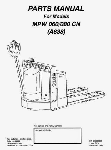Free Automotive Manuals: Yale Electric For Model MPW 060