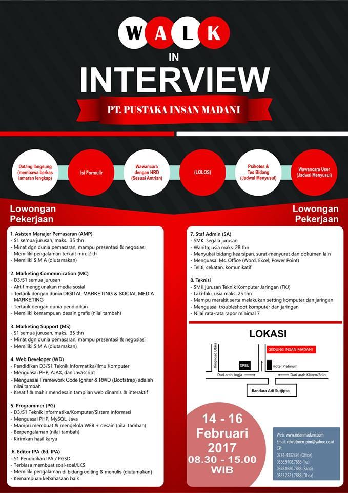 posisi dan ketentuan loker pt insan madani terbaru 2017