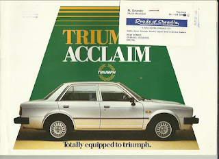 Triumph Acclaim brochure with Reads of Cheadle business card