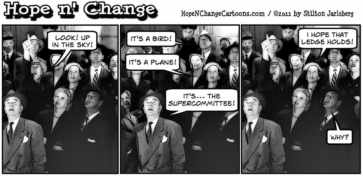People mistake the supercommitee for superman, hopenchange, hope and change, hope n' change, stilton jarlsberg, political cartoon, tea party