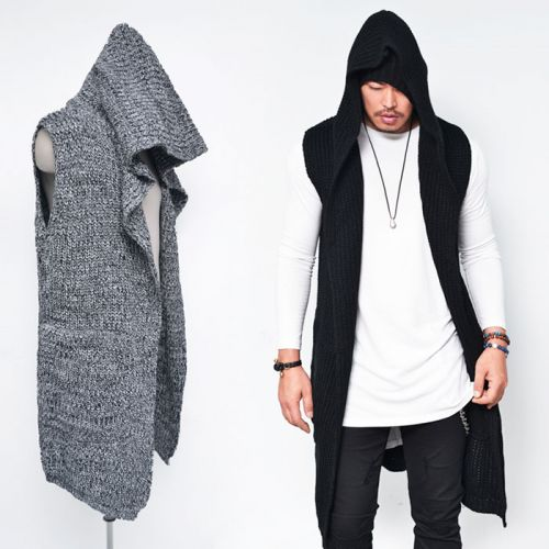 cde5a7110e Mens Chunky Knit Hooded Long Sleeveless Cardigan-Vest 109 by guylook ...