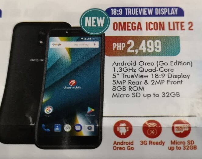 Cherry Mobile Omega Icon Lite 2; 5-inch 18:9 Display, Android Oreo Go Edition for Php2,499