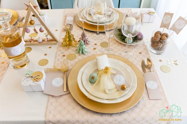 servilleteros mesa navidad