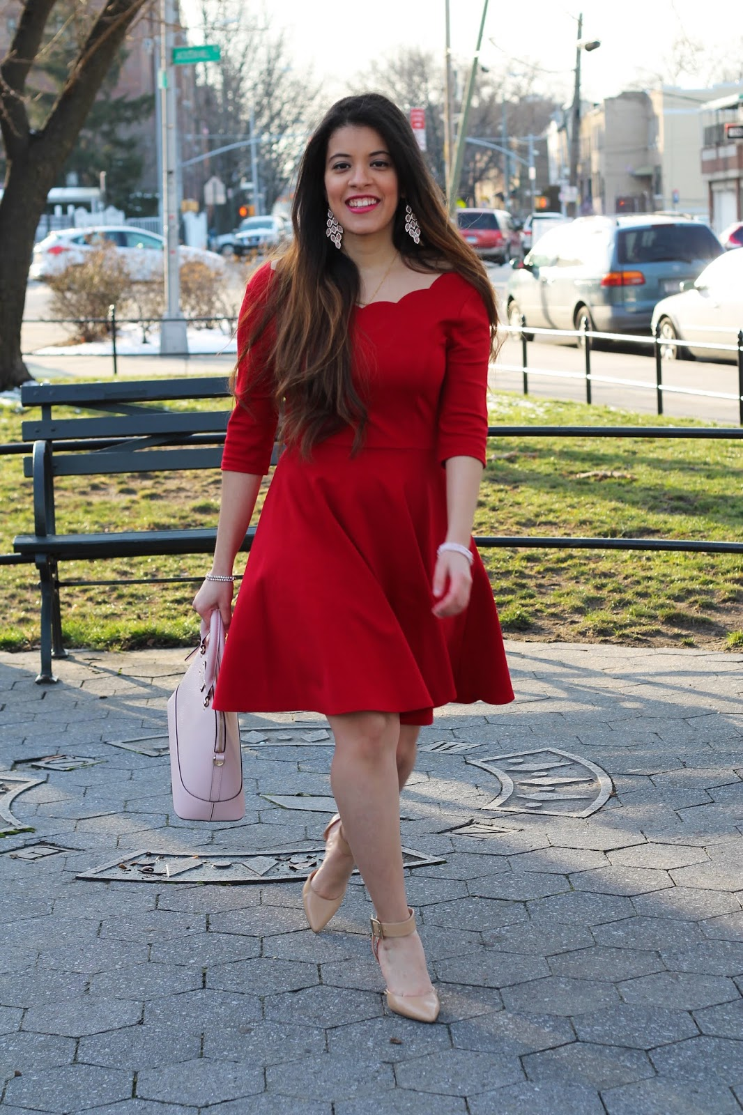 Valentines day, valentines, galentines, red, pink, lulus, kate spade, scalloped dress, scallops, ankle strap, nude heels, nine west, valentines day look, simple,  blogger, latina, nyc blogger, nyc