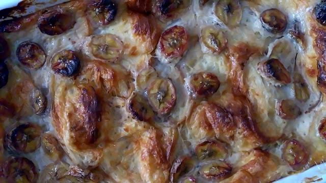 pudin pudding croissant platano pan perdú aprovechamiento receta horno leche huevos