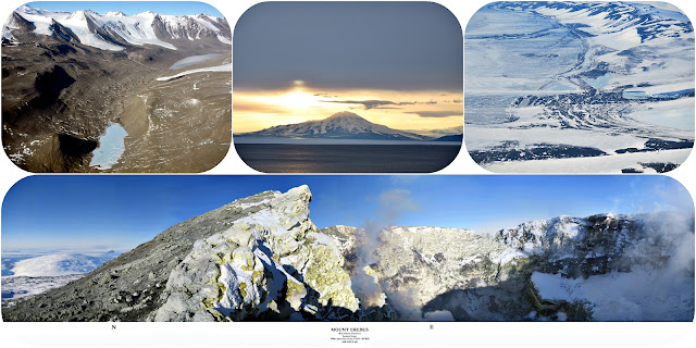 Ross Island in Antarctica from frozen mountains, volcanos, and sunrises