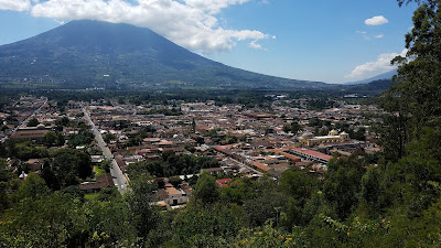 view of Antigua Guatemala with volcanoes