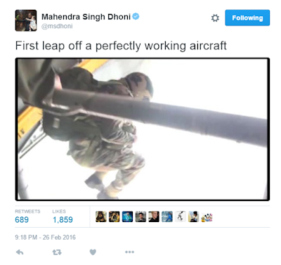Lt Col MS Dhoni tweets pictures about his first jump from an IAF Aircraft