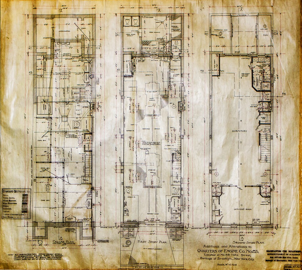 Construction floor plan for India Street Firehouse