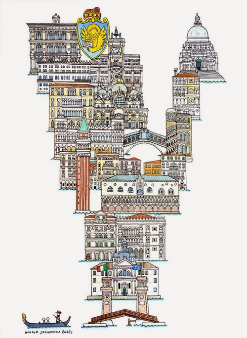 22-V-Venice-Italy-Hugo-Yoshikawa-Illustrated-Architectural-Alphabet-City-Typography-www-designstack-co
