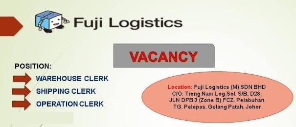 Jawatan Kosong Fuji Logistics (M) Sdn. Bhd. Terkini Jun 2016