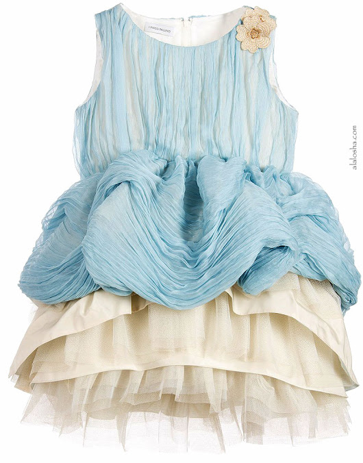 Must Have of the Day: I Pinco Pallino girls Blue Pleated Silk & Tulle Dress