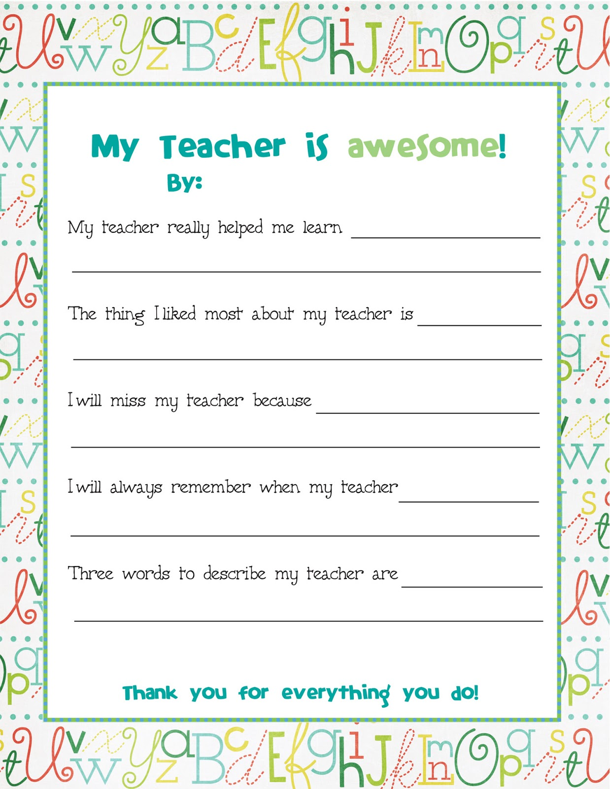 Teaching Thank You For Teachers And Free Printable On