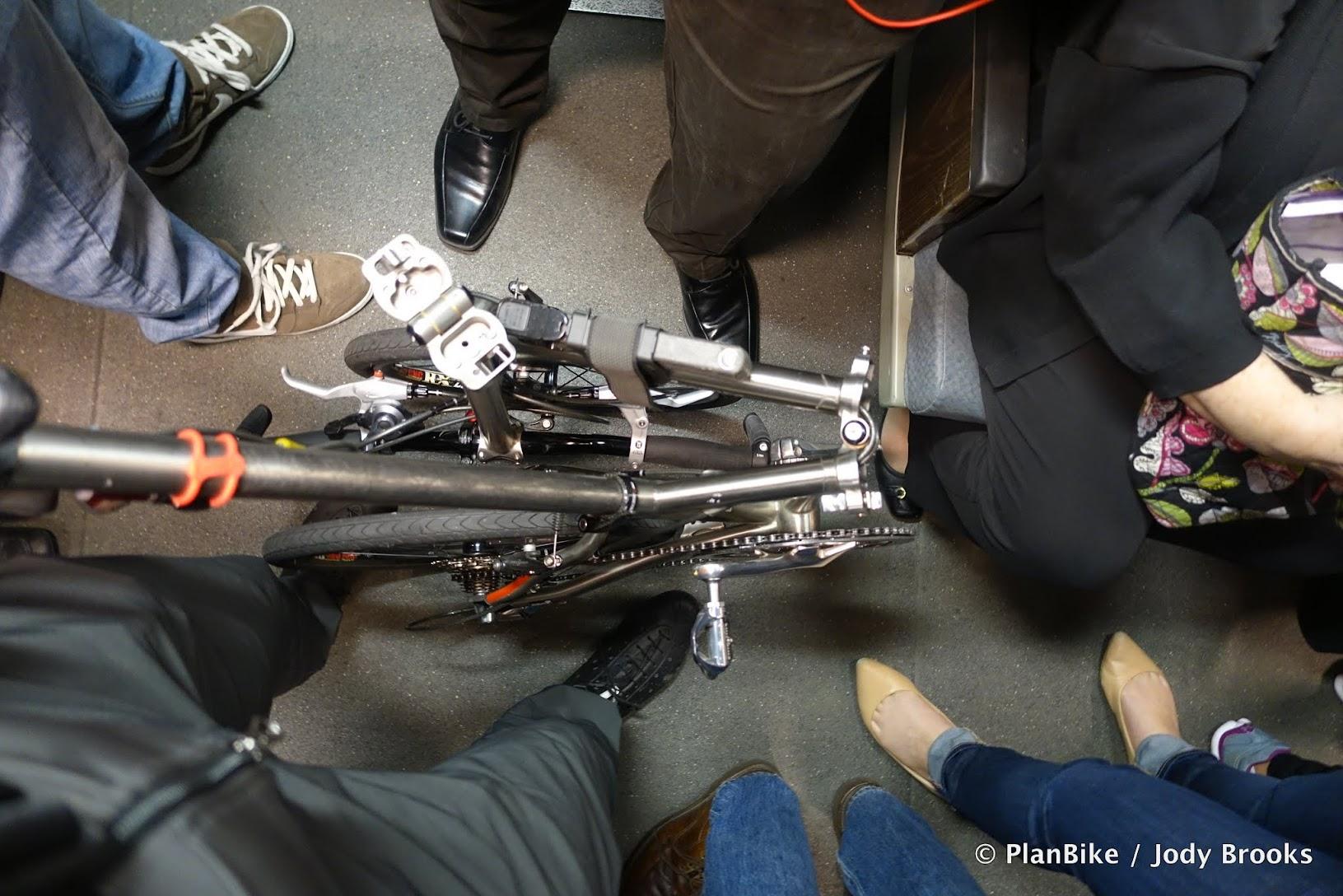 Folding Bike on BART at rush hour