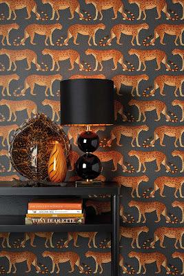 Papel Pintado 109-2008 Tono Gris oscuro con Leopardos