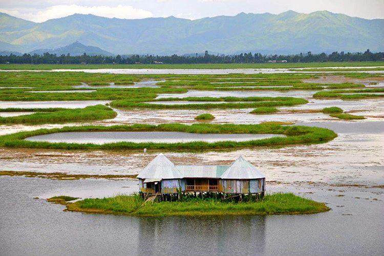 Loktak Gölü suda hareket eden ve kurak aylarda batan yüzen adalara ev sahipliği yapmaktadır.