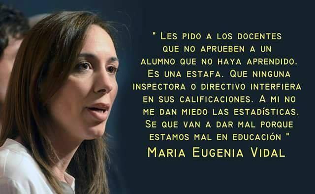"""Para María Eugenia Vidal es mejor que el alumno """"repita para aprender"""" y no que pase sin saber nada"""