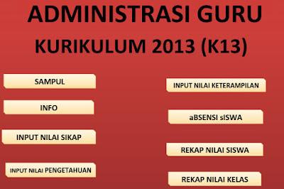 Aplikasi Administrasi Guru Kurikulum 2013 Untuk Guru SD