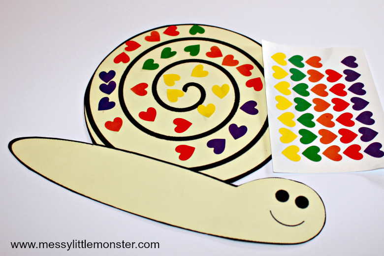 snail sticker craft free printable snail to cover with stickers