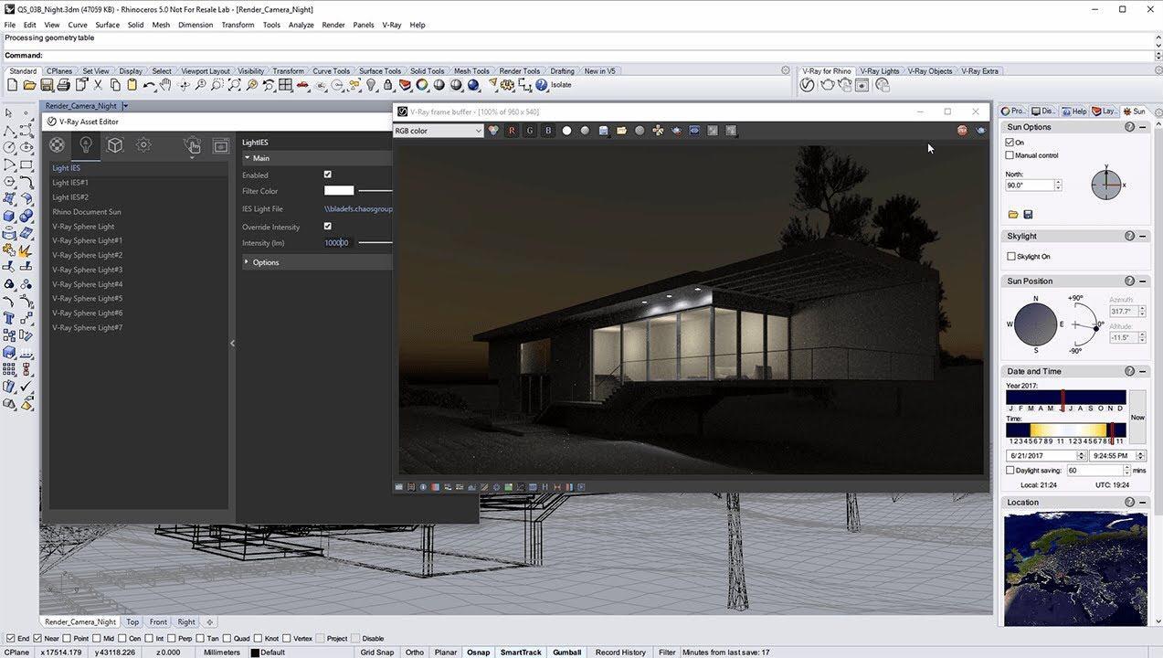 Night-time Exterior Lighting | Vray for Rhino | CG TUTORIAL