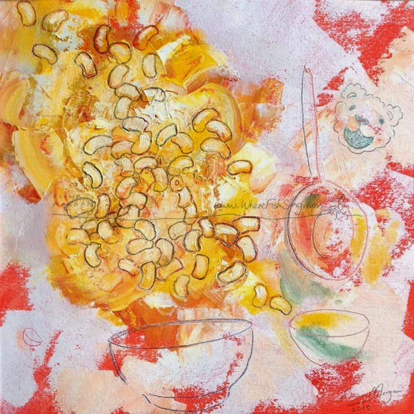 food painting of mac and cheese for the vegetarian cookbook by Fiona Morgan
