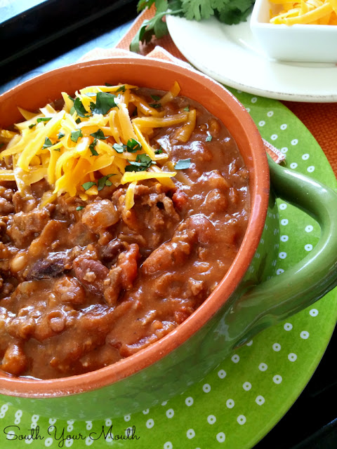 BIG BATCH Beef & Bean Chili! This recipe serves 18-20 people and is perfect for game day!