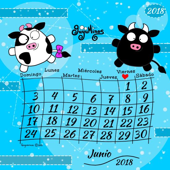 Calendario Mes de Junio 2018 al estilo Guyuminos Vaca y toro ilustración tarjeta cute kawaii