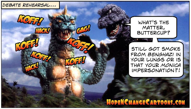 obama, obama jokes, political, humor, cartoon, conservative, hope n' change, hope and change, stilton jarlsberg, debate, rehearsal, trump, hillary, godzilla