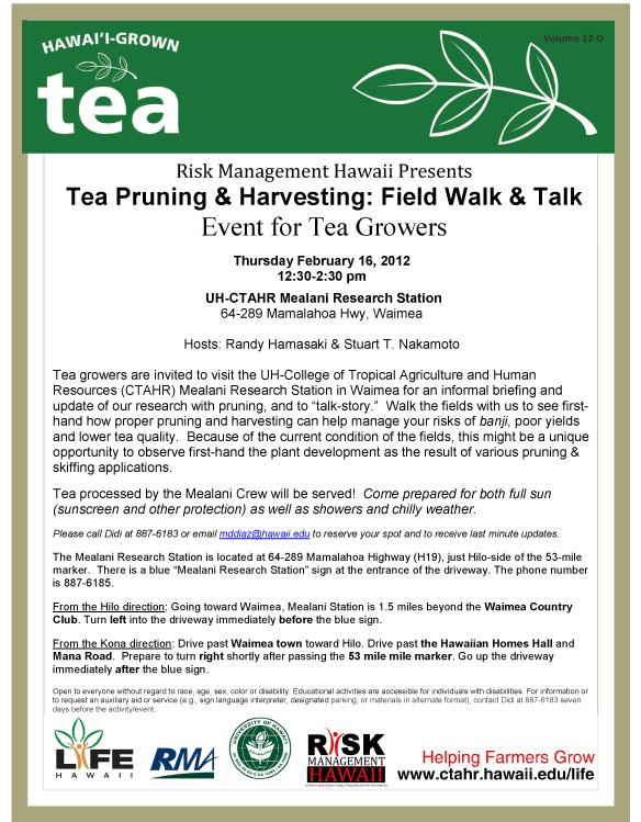 LIFE-CTAHR: New Market Potential for Oahu: Tea Experiment Update