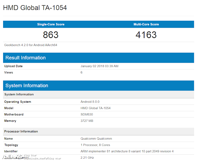 Nokia 6 TA-1054 with Snapdragon 630, Android Oreo 4GB RAM spotted on Geekbench