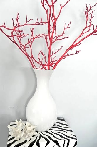 faux red coral branch