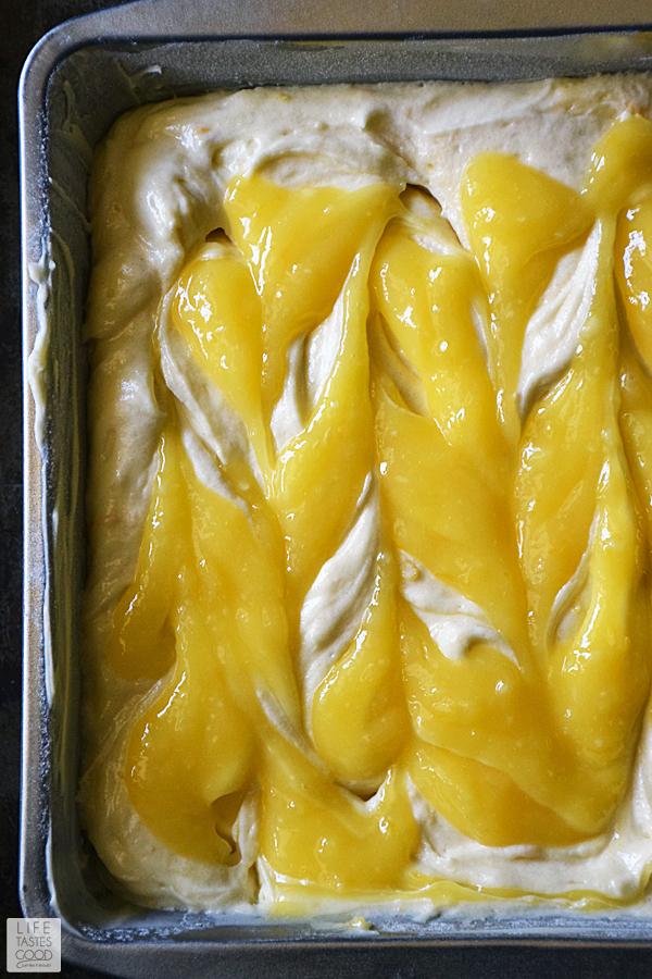 Swirling in homemade lemon curd for Lemon Crumb Cake