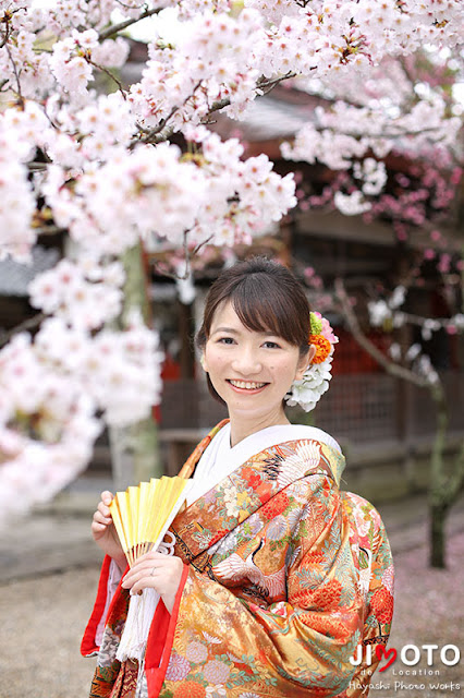 奈良の桜での前撮り撮影