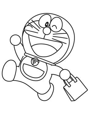 Tranh cho bé tô màu Doraemon đi chợ