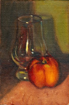 Oil painting of a red and yellow nectarine in partially obscuring a Glencairn whisky glass against a green background.
