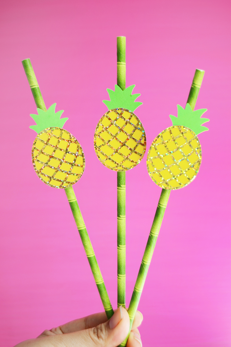 fun pineapple drink straws DIY