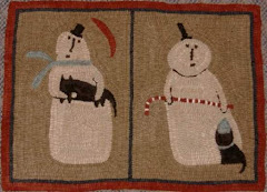 Snowman/Cats Hooked Rug