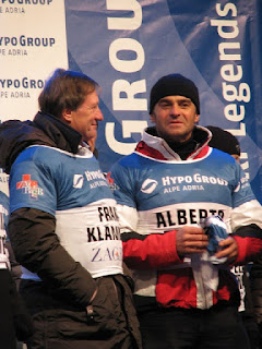 Alberto Tomba (right) pictured with the  legendary Austrian skier Franz Klammer