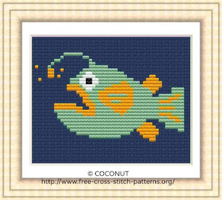 Mini Fish 1, Free and easy printable cross stitch pattern