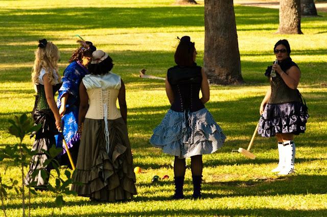 steampunk wedding, steampunk bride and groom, louise black corset, retroscope fashion, kempner park galveston, garten verein, galveston, wedding, steampunk picnic, croquet, corsets-uk, fanplusfriend