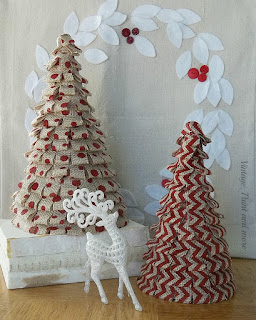 Vintage, Paint and more... little Christmas trees made by gluing burlap ribbon on cardboard trees