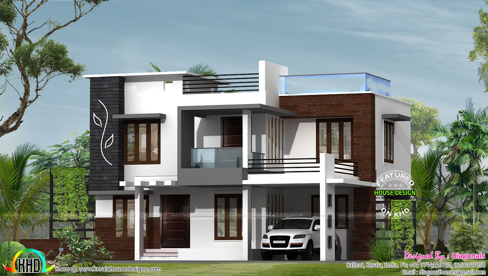 2268 sq ft modern flat roof home kerala home design and for Modern flat roof house