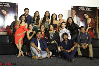 Vidya Balan with Ila Arun Gauhar Khan and other girls and star cast at Trailer launch of move Begum Jaan 021.JPG