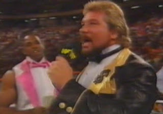 WWF / WWE Summerslam 1989 - Ted Dibiase cut a promo on Jake Roberts before wrestling Jimmy 'Superfly' Snuka