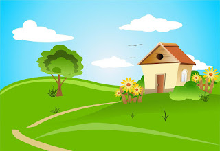 cartoon of house and garden