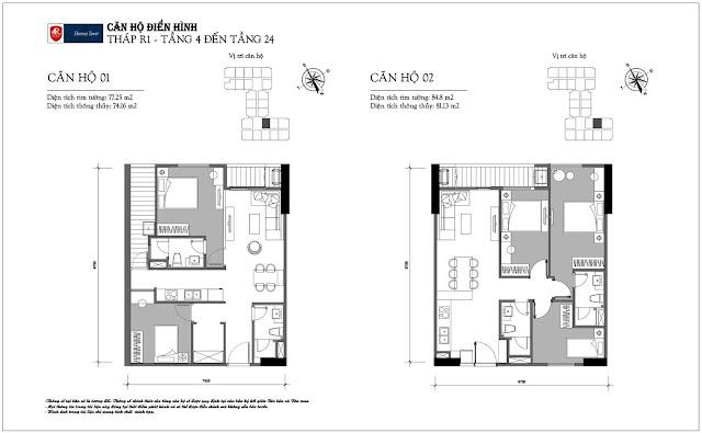 Thiết kế căn hộ điển hình chung cư FLORENCE Mỹ Đình