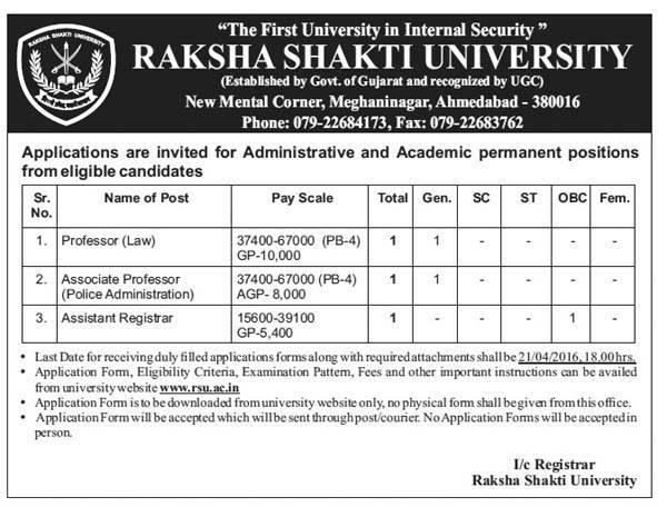 Raksha Shakti University, Ahmedabad Professors and Registrar Recruitment 2016