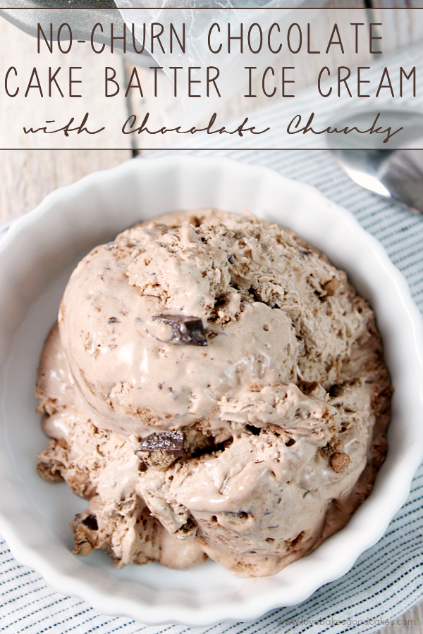 No-Churn Chocolate Cake Batter Ice Cream with Chocolate Chunks